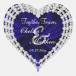 Wedding Day Navy Blue Satin | Personalize Heart Sticker