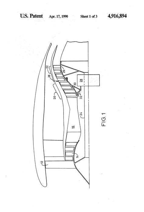 Patent US4916894 - High bypass turbofan engine having a