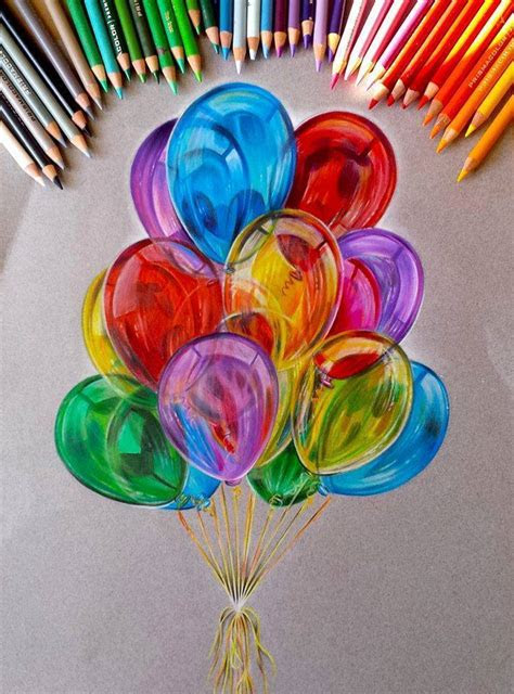 balloon color pencil drawing  jocelyn schmidt