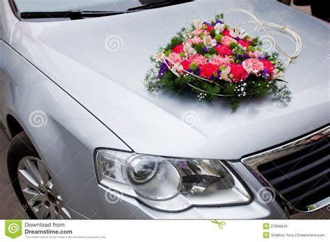 Wedding Car Decoration With Flowers Stock Image   Image of