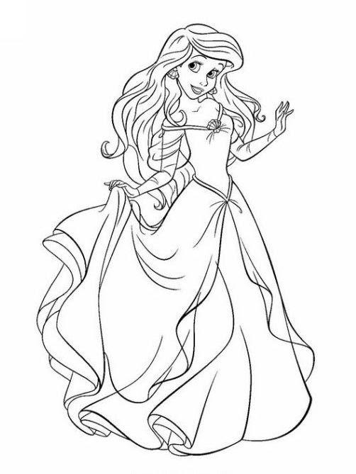 Ausmalbilder für Kinder Disney Prinzessinnen 1