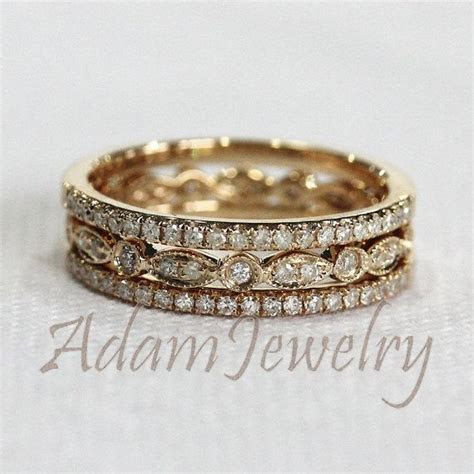 Discount! 3 HALF Eternity Bands Solid 14K Yellow Gold Ring