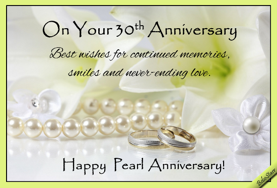 Pearl Anniversary Wishes Free Milestones Ecards Greeting Cards
