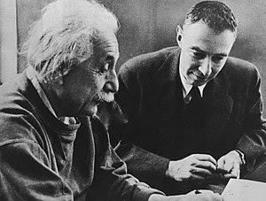 Albert Einstein (left) with J. Robert Oppenhei...