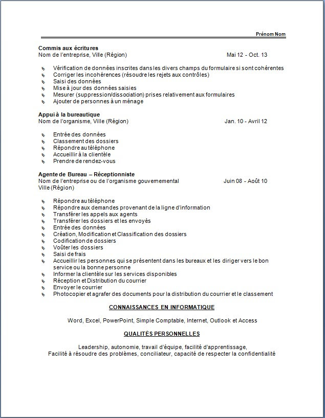 32 Free Cv Format Quebec Download Docx Pdf