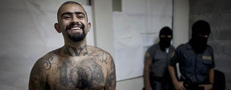 "The leader of the Guatemala branch of the M-18 gang, Aldo Dupie Ochoa Mejia, alias ""El Lobo"" or ""The Wolf,"" inside the Frajines 1 prison in Guatemala City. (Associated Press/Rodrigo Abd)"