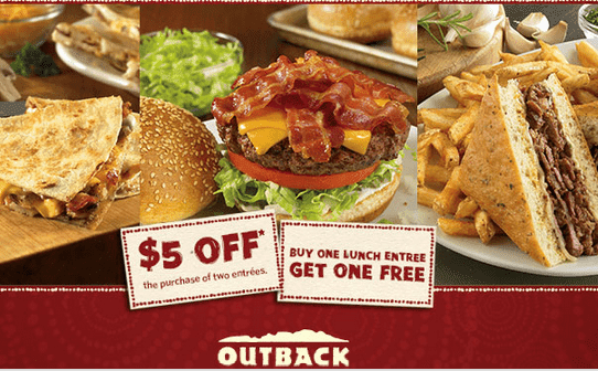 outback2 Outback Steakhouse Coupons: Buy One Get One Free and $5 off!