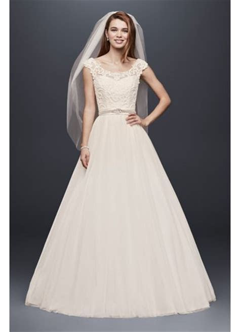 Tulle Wedding Dress with Lace Illusion Neckline   David's
