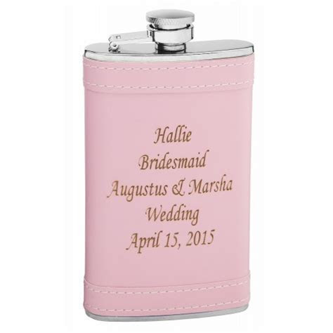 6oz Pink flask with Custom Laser Personalization and Engraving