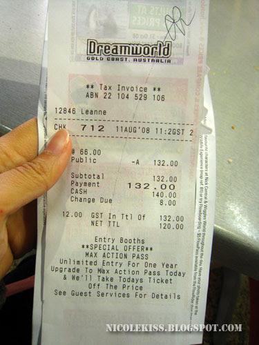 dreamworld receipt