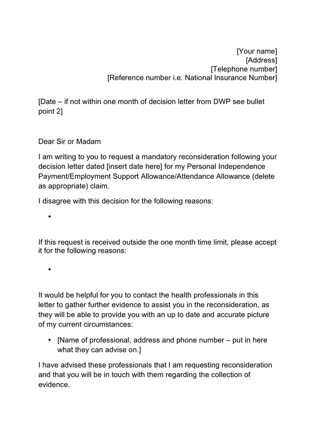 Template mandatory reconsideration letter in Word and Pdf ...