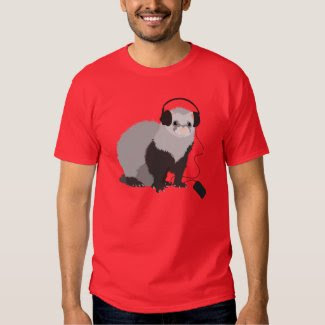 Music Lover Ferret Mens Tee Shirt