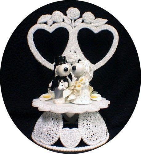 Snoopy Dog Belle Peanut Gang Wedding Cake Topper 2 hearts