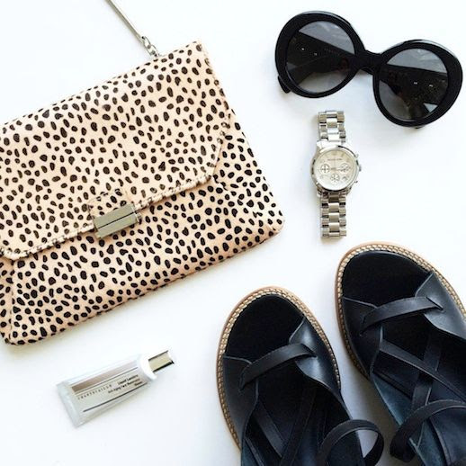 Le Fashion Blog Instagram Cheetah Reiss Bag Versace Round Sunglasses Michael Kors Watch Tibi Sandals Chantecaille Highlighter