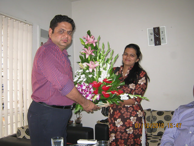 "Archana Awate of Rays Design Solutions, Architects, Interior Designers, Engineers, Landscape Designers,  congratulating Sachin Kulkarni, M D of Vastushodh Projects, developers of Anandgram Yavat, 1st ""Affordable Housing"" Project with CRISIL 5 Star Rating"
