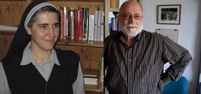 La monja benedictina Teresa Forcades y el economista y president de Justícia i Pau, Arcadi Oliveres.