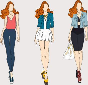fashion models hand drawing vector  vector