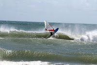 Keith with a top hit on one of the best chest high waves at Ocracoke on Tuesday - photo: Jim Myers