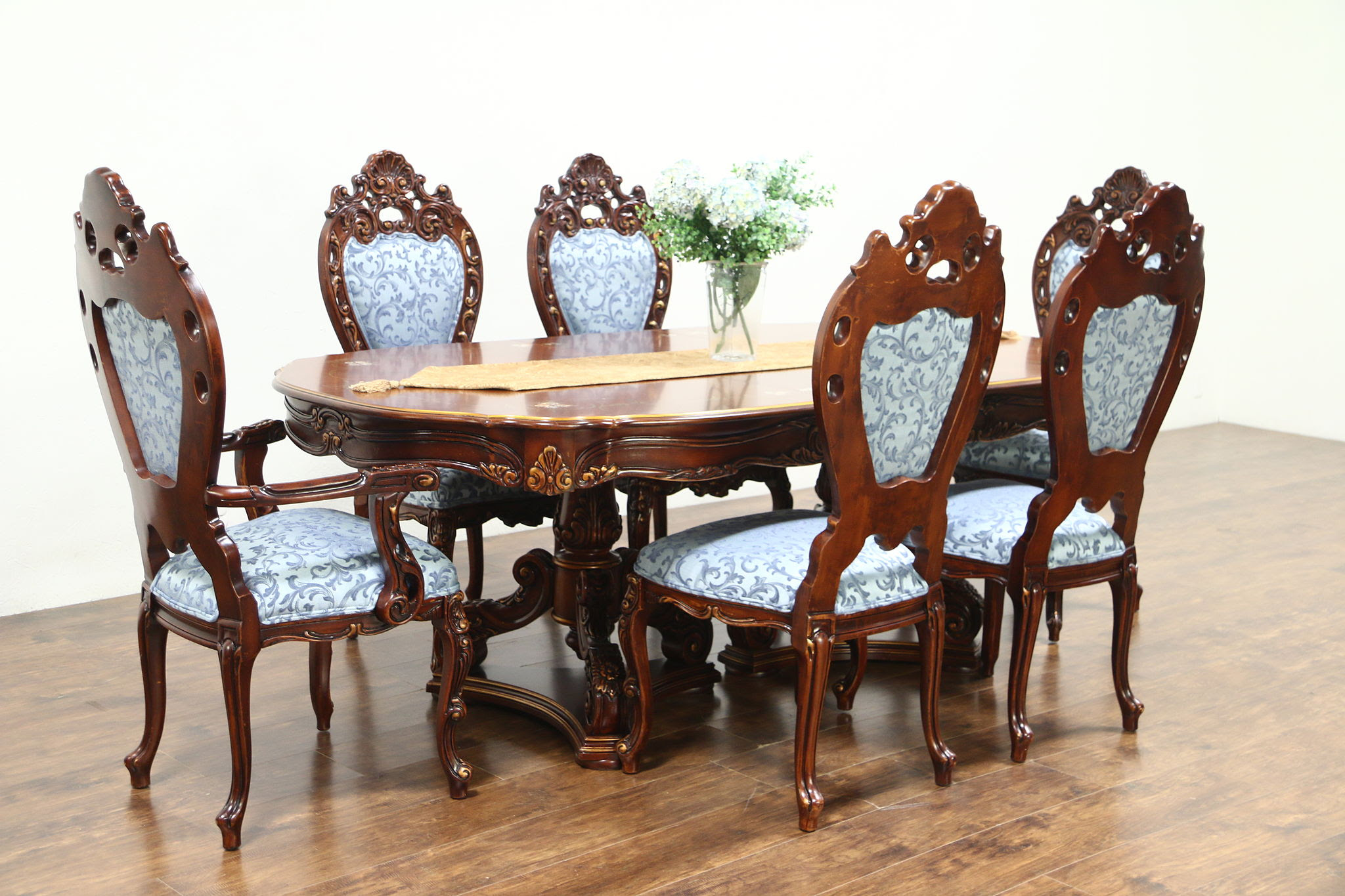 Sold Baroque Carved Cherry Vintage Dining Set Table 6 Chairs Signed Montalban Harp Gallery Antiques Furniture