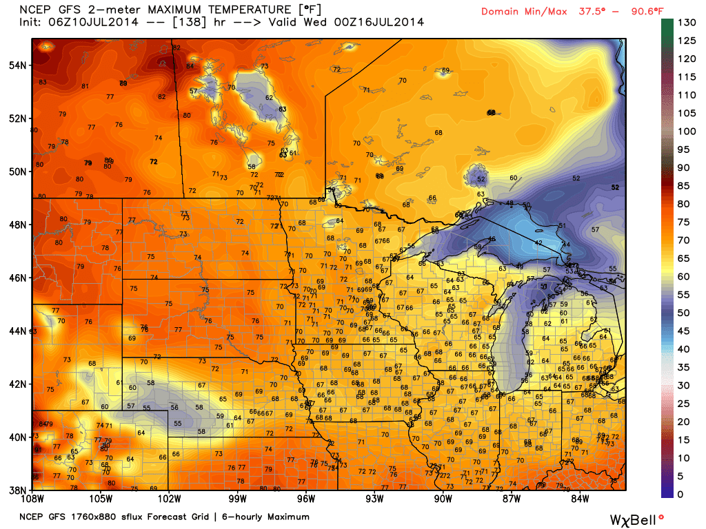GFS model forecast highs Tuesday (WeatherBell.com)