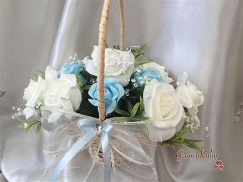 Butterfly Flower Girl Basket With Ivory/Baby Blue Roses