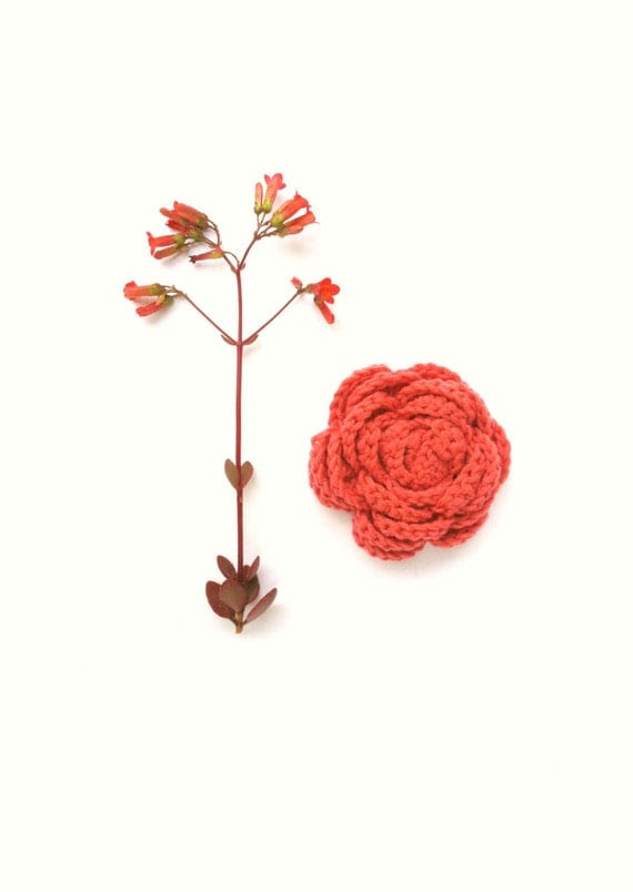 Brooch Salmon Coral Flower Brooch, Coral Crochet Brooch Pin, Bridesmaid's accessory, Gift for her, brooch pin
