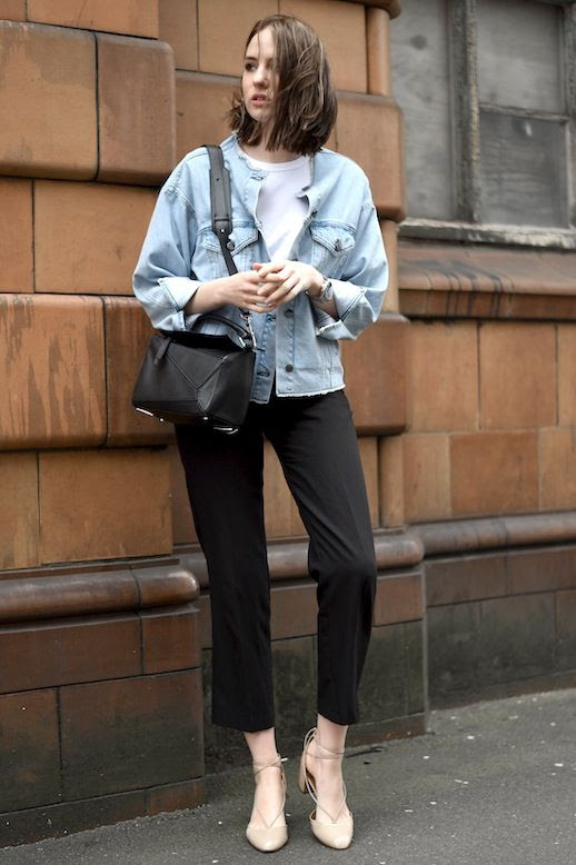 Le Fashion Blog Casual Chic Blogger Style Denim Jacket White Tee Loewe Bag Black Cropped Pants Nude Aquazurra Lace Up Heels Via Shot From The Street