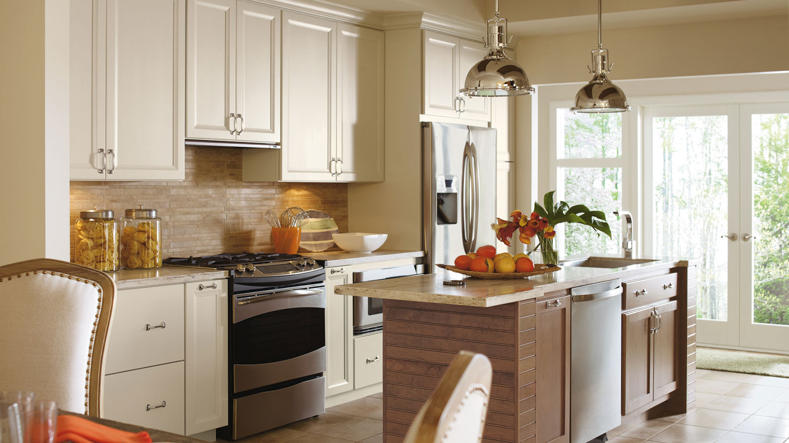 Painted Maple Cabinets in a Casual Kitchen - Omega