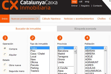 Portal inmobiliario de CatalunyaCaixa, una de las entidades nacionalizadas.
