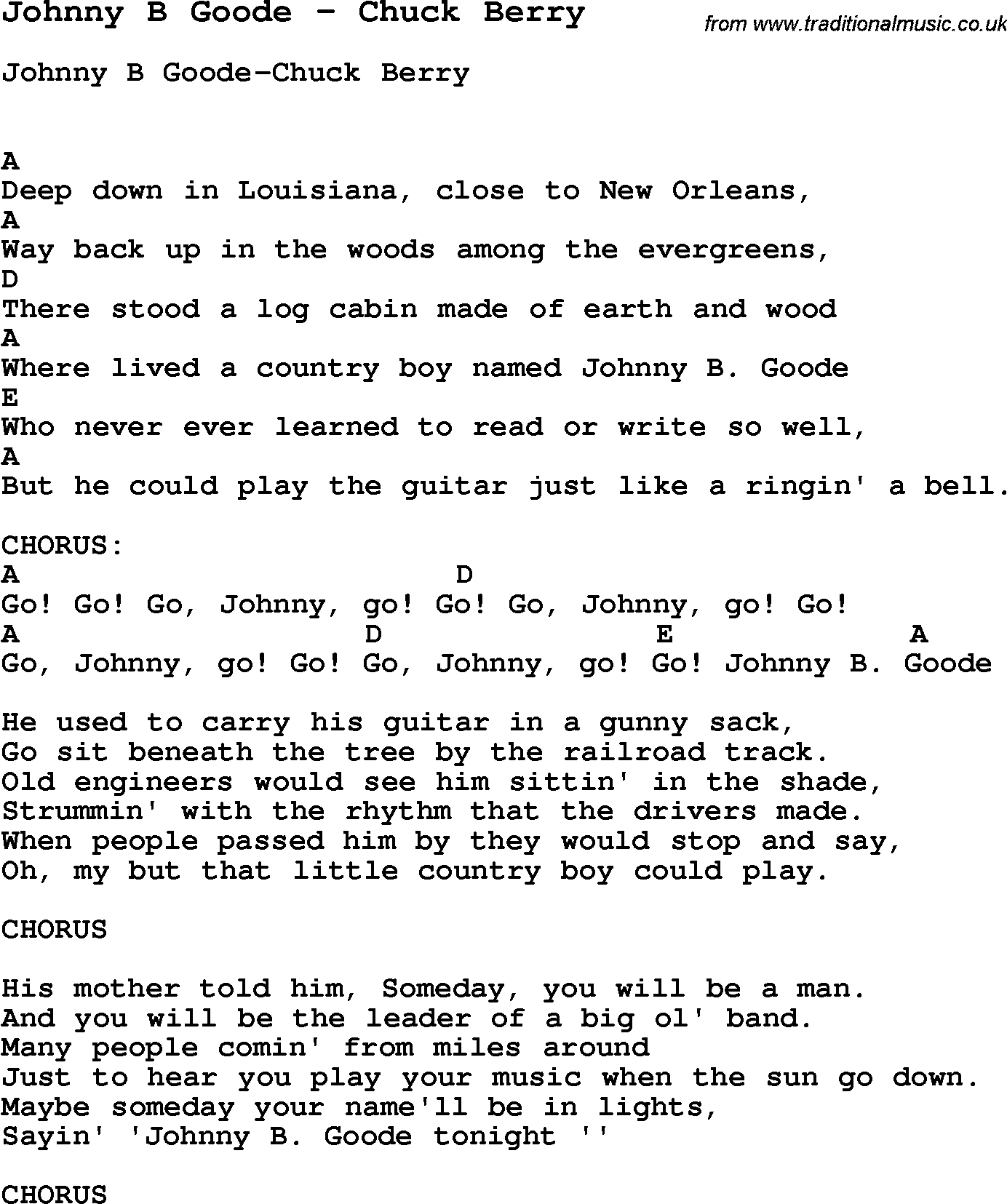 Johnny B Goode Chords 2015confession