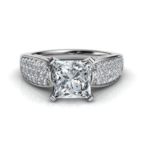 Wide Band Design Pavé Princess Cut Diamond Engagement Ring