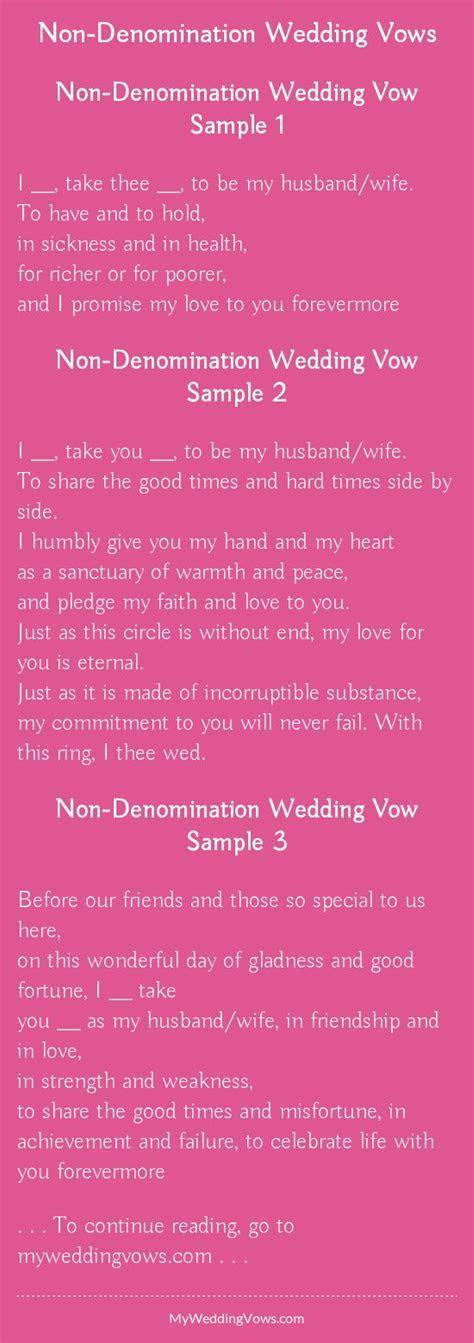 Non Denomination Wedding Vows in 2019   Wedding Ideas