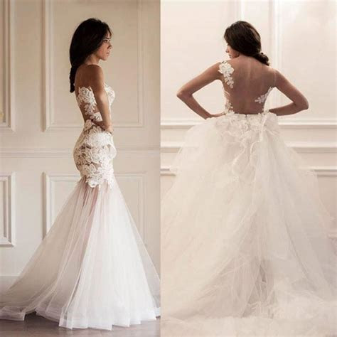 Vestidos Verao 2016 Mermaid Wedding Dress Sheer Lace