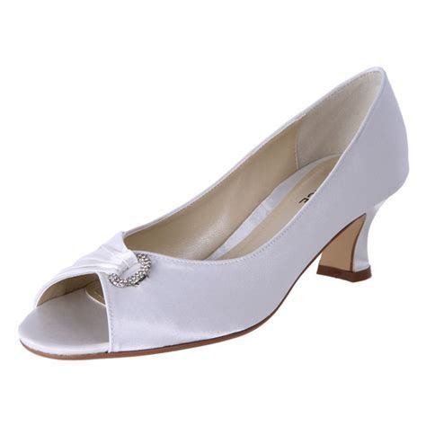 Clarice Womens Satin Rhinestone Low Heel Wedding Shoes