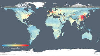 This global map shows the concentration of nitrogen dioxide in the troposphere
