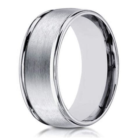 8mm Satin Finish 14k White Gold Designer Wedding Ring for