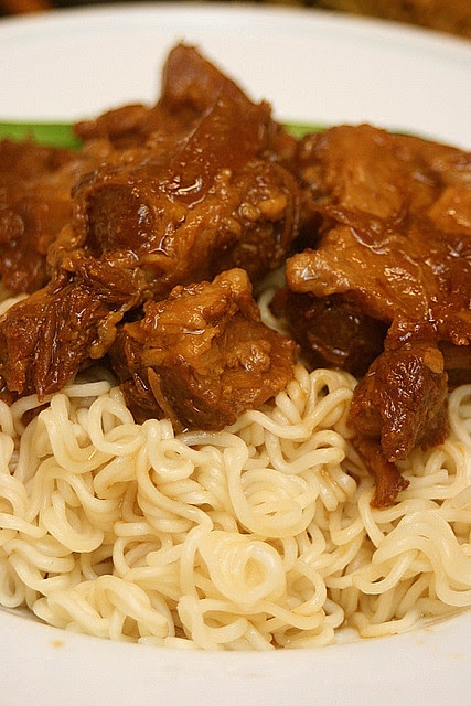 Stewed pork ribs with soft bones (cartilage) and noodles