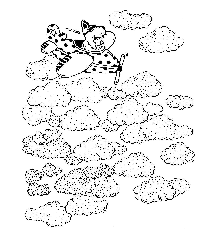 Ausmalbild Transportmittel Flugzeug in den Wolken kostenlos ausdrucken