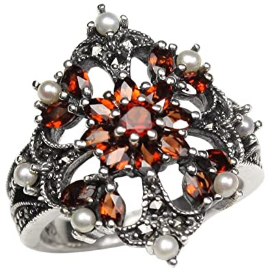 Garnet Fire Burst Natural Seed Pearl Ring