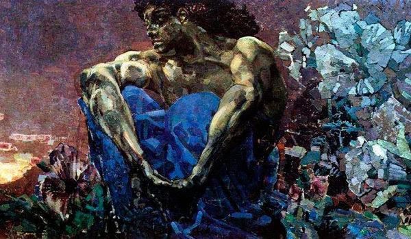 """Михаил Врубель. """"Демон сидящий"""", 1890"""