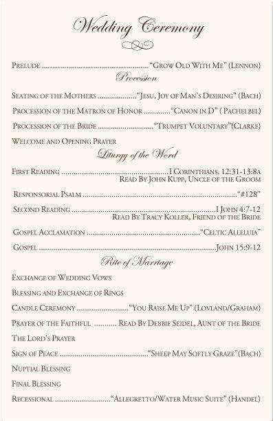 catholic wedding ceremony program template I like the You