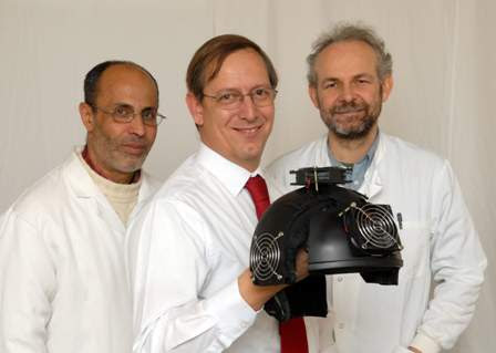 Dr Abdel Ennaceur, Dr Paul Chazot and Dr Gordon Dougal with a prototype cognitive helmet