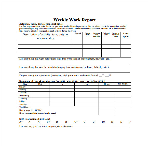 Report Template For Daily Work Sample Of Daily Work Report ...