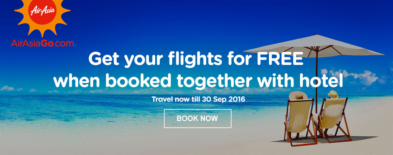 Get your flights for FREE when booked together with hotel