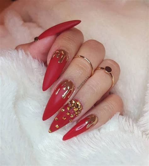 50 Luminous Red and Gold Nail Designs ???   Be Modish