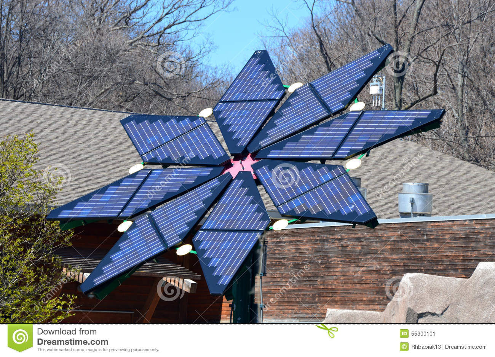 solar panels form shape flower milwaukee county zoo milwaukee wisconsin 55300101