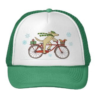 Cycling Dog and Squirrel Winter Holiday Mesh Hat
