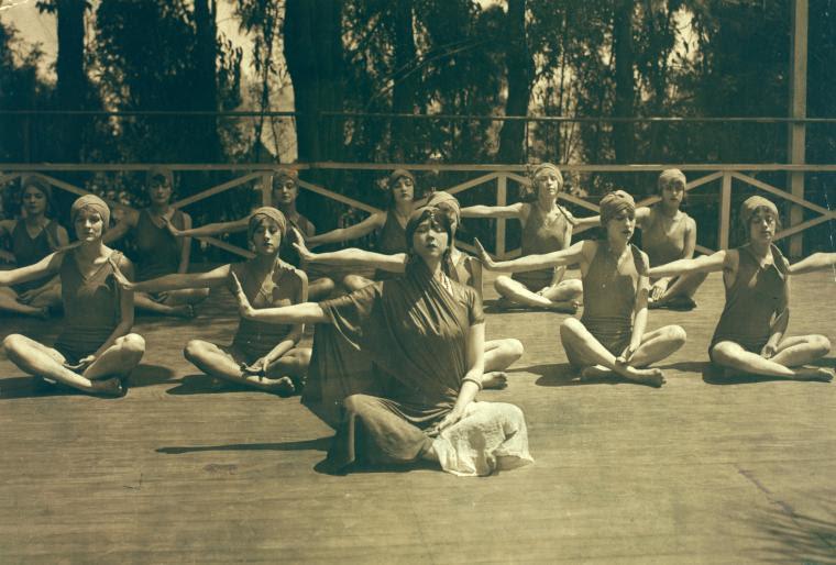 Ruth St. Denis and Denishawn dancers in Yoga meditation.