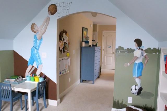 boys playroom and bedroom north carolina sports mural