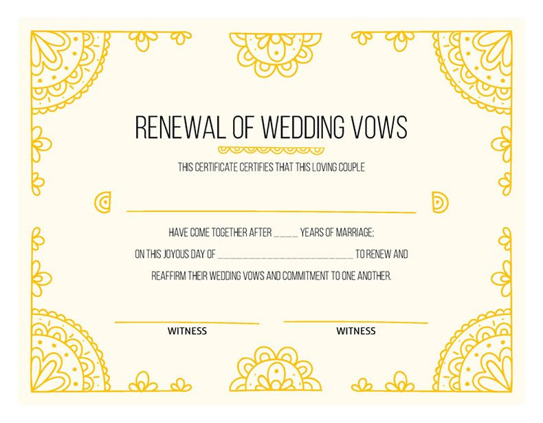 hand drawn gold vow renewal certificate m